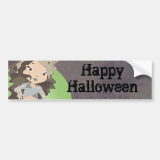 Happy Halloween Mummy Chibi Bumper Sticker Car Bumper Sticker