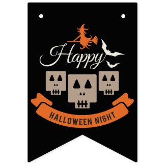 Happy Halloween Night Skulls Bunting