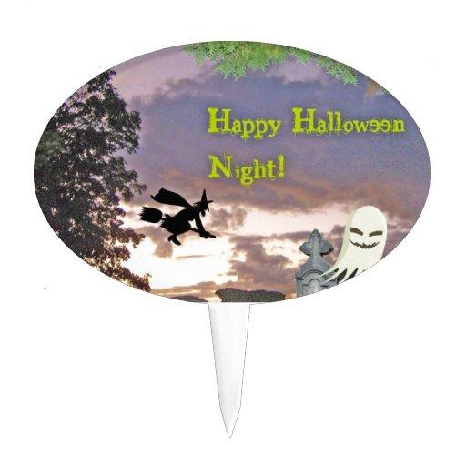 Happy Halloween Night Witch Ghost & Owl Cake Picks