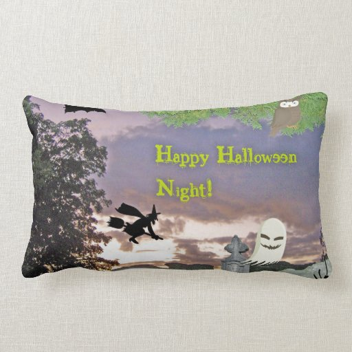 Happy Halloween Night Witch Ghost & Owl Throw Pillows