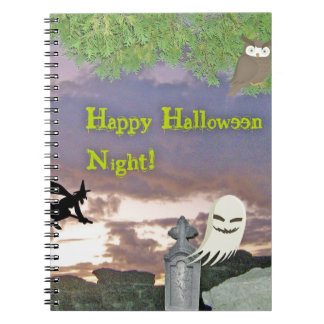 Happy Halloween Night Witch Ghost & Owl Notebooks
