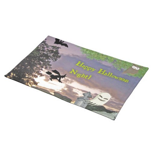 Happy Halloween Night Witch Ghost & Owl Place Mats