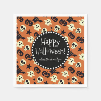 Happy Halloween on Ghosts Bats Stars and Pumpkins Disposable Serviettes