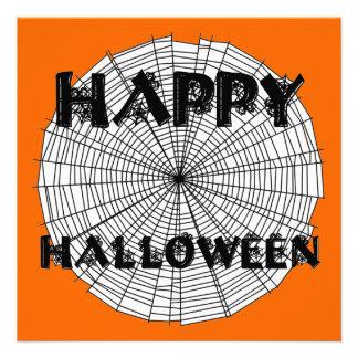 Happy Halloween on Spider Web Text Invitation