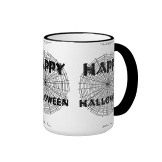 Happy Halloween on Spider Web Text Mug