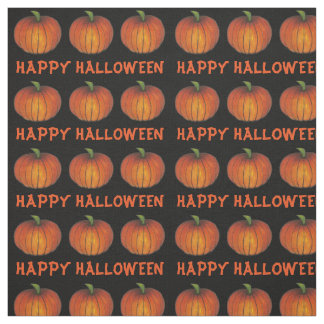 Happy Halloween Orange and Black Pumpkins Fabric