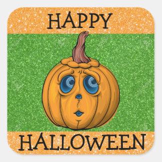 Happy Halloween Orange and Green Pumpkin Sticker