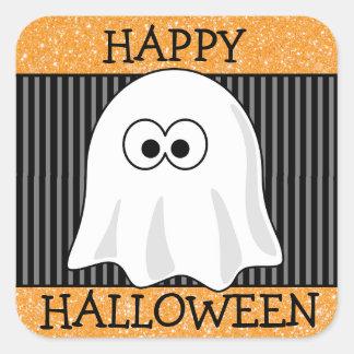 Happy Halloween Orange & Black Ghost Sticker