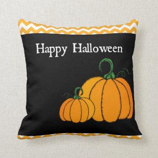 Happy Halloween Orange & Black Pumpkin Pillow