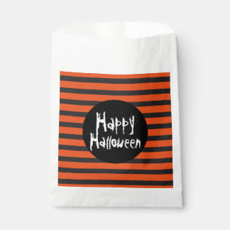 Happy Halloween Orange Black Striped Spooky Font Favour Bags