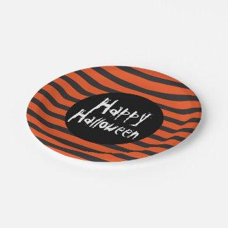 Happy Halloween Orange Black Striped Spooky Font Paper Plate