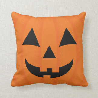 Happy Halloween Orange Carved Smiling Pumpkin Face Cushion