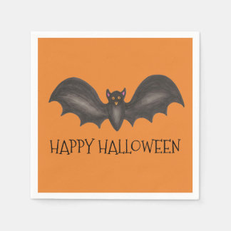 Happy Halloween Orange Flying Black Bat Disposable Napkin