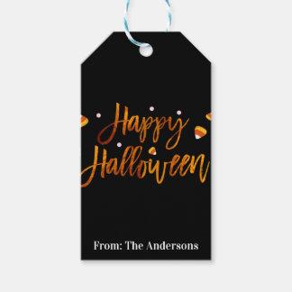 Happy Halloween Orange Foil Modern Script Trendy Gift Tags