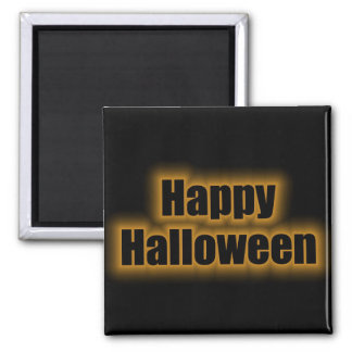 Happy Halloween Orange Glow Square Magnet