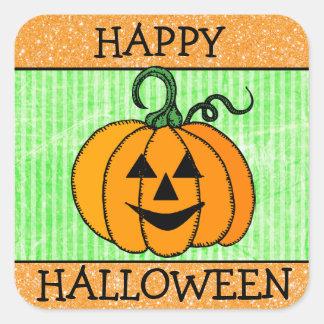 Happy Halloween Orange & Green Pumpkin Sticker