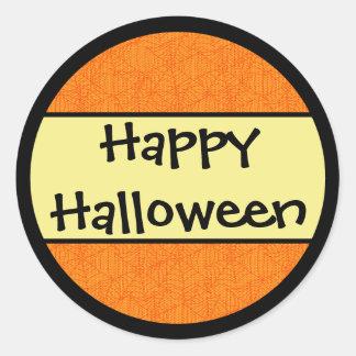 Happy Halloween Orange Pattern Classic Round Sticker