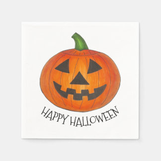Happy Halloween Orange Pumpkin Jack o' Lantern Disposable Napkin