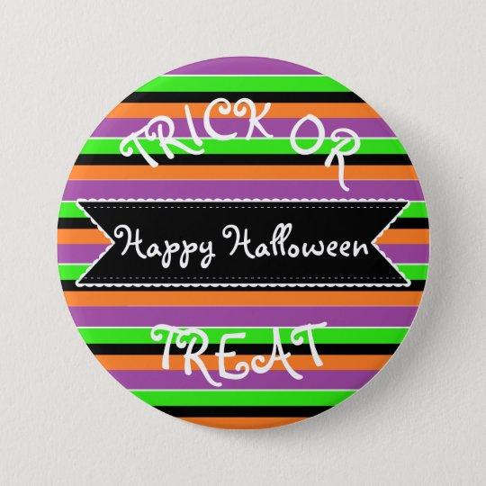 Happy Halloween Orange Purple Green Striped Button