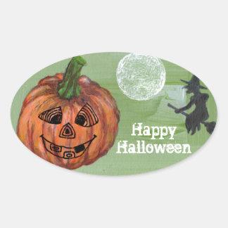 Happy Halloween oval sticker, sealer, label