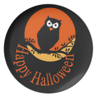 Happy Halloween Owl Plate