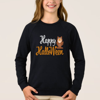 Happy Halloween Owl wing cute brown sparkle Sweatshirt