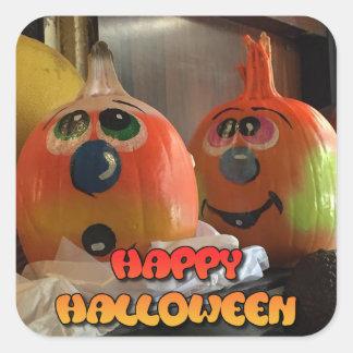 Happy Halloween Painted Pumpkins Stickers