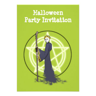 Happy Halloween party invitation with demon