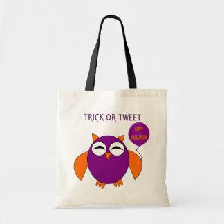 Happy Halloween Party Owl Trick or Tweet Custom Budget Tote Bag