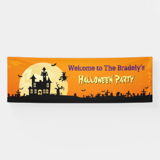 Happy Halloween Party Scary Haunted House Zombie Banner