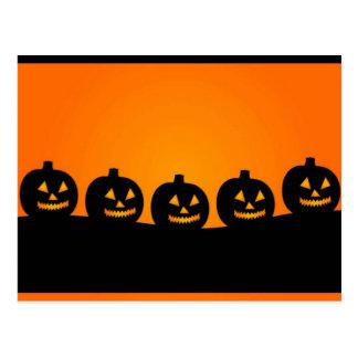 Happy Halloween Pumkin Heads Postcard