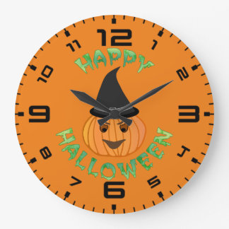 Happy Halloween Pumkin Witch Clocks