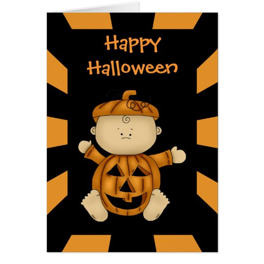 Happy Halloween Pumpkin Baby Greeting Card