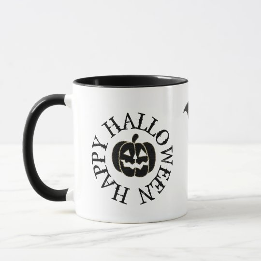 Happy Halloween Pumpkin Bat and Black Cat Mug