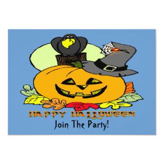 "Happy Halloween - Pumpkin, Crow Invitation 5"" X 7"" Invitation Card"