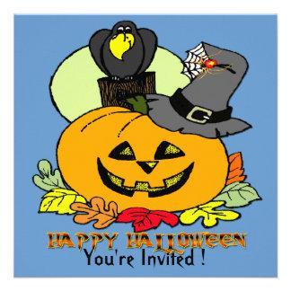 Happy Halloween - Pumpkin Crow Invitation