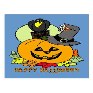 Happy Halloween - Pumpkin Crow Postcard