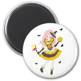 Happy Halloween Pumpkin Girl 6 Cm Round Magnet