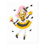 Happy Halloween Pumpkin Girl Postcard