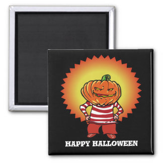 happy halloween pumpkin head boy cartoon magnet