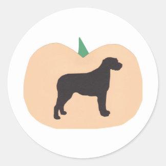 Happy Halloween Pumpkin Irish Wolfhound Round Sticker