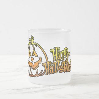 Happy Halloween Pumpkin Jackolantern Frosted Glass Mug