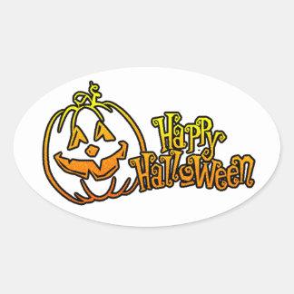 Happy Halloween Pumpkin Jackolantern Oval Sticker
