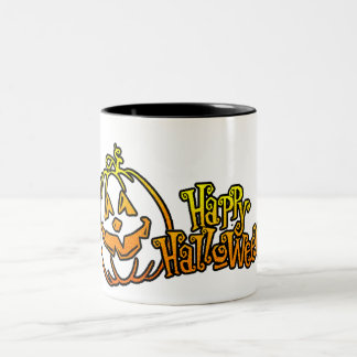 Happy Halloween Pumpkin Jackolantern Two-Tone Mug