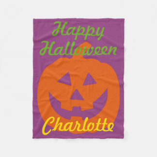 Happy Halloween Pumpkin on Purple Personalized Fleece Blanket