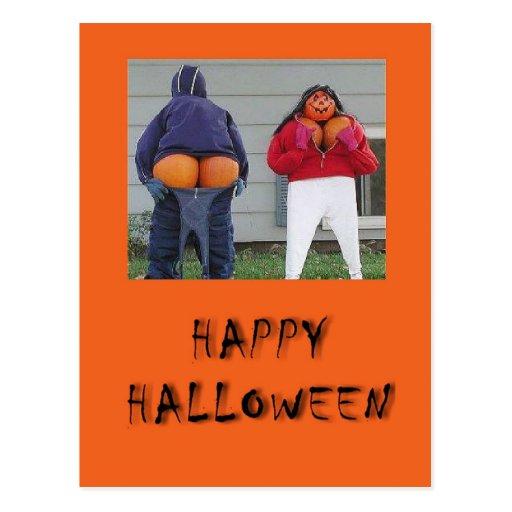 Happy Halloween Pumpkin People Postcard