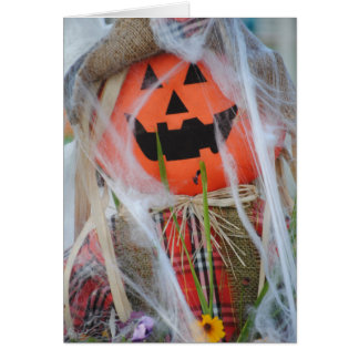 Happy Halloween Pumpkin Scarecrow Greeting Card