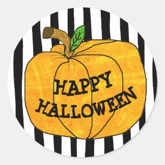 Happy Halloween Pumpkin Striped Stickers