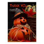 happy halloween pumpkin Thank You Note Card