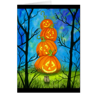 Happy Halloween Pumpkin Totem by Bihrle Card